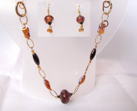 Purple and Gold Lampwork Glass and Chain Necklace &  Earrings Set