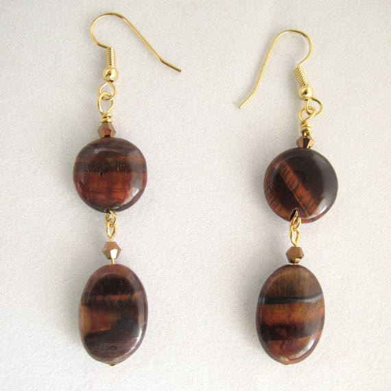 Tiger's Eye Earrings with metallic copper crystals