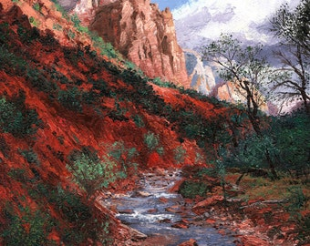 Landscape oil painting-Zion Canyon