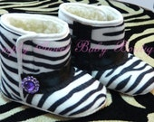 Zebra Baby Boots Crib Shoes - Soft Sole - Girls Boots