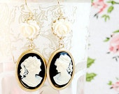 Black Cameo and Rose Dangle Earrings
