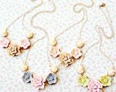 Bridesmaids Jewelry, Bridesmaids Necklaces, Four Bridesmaids Romantic Floral Necklaces
