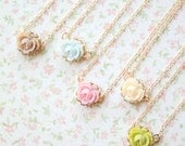 Five Bridesmaids Mini Rose Necklaces 100 Dollars - 14K Gold Filled