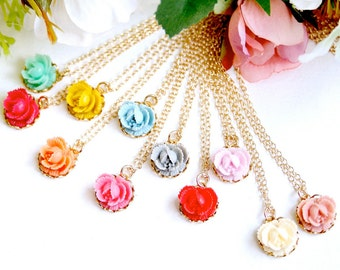 Five Bridesmaids Petite Rose Necklaces