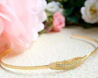 Wedding Sparkle Feather 22K Gold Plated Headband