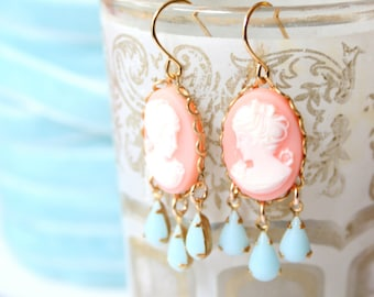 Pink Cameo Chandelier Earrings