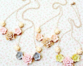 Bridesmaids Jewelry, Bridesmaids Necklaces, Four Bridesmaids Romantic Floral Necklaces