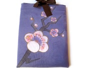 iPad1&2 sleeve with Kimono inspired plum flowers hand painted cotton shell