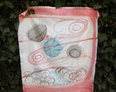 Jellyfish and sea urchin hand painted cotton in black, turquoise and coral pink