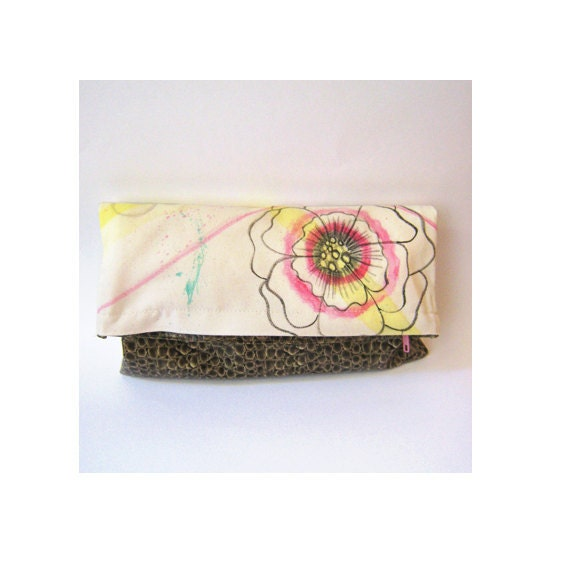 Fold over clutch with Hot PINK FLOWER, Yellow lines and Emerald Green spatter abstract painting on cotton canvas and faux leather