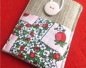 SALE, Strawberry, Cell phone case /  phone sleeve, Blackberry cover, Phone wallet, JUTE, was 19.00 US