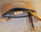 Cosmetic bag, Zipper pouch, Wallet, Purse, use for Money or electronic advice, Jute Fabric
