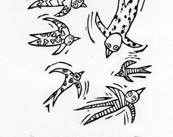 Birds in pajamas lino cut