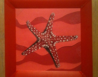 white spotted red starfish at the bottom of the sea