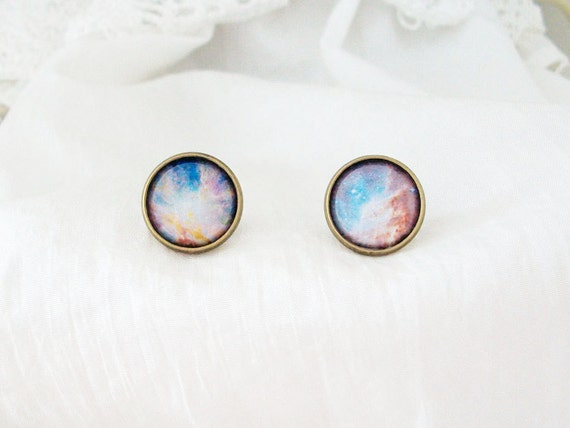 galaxy cabochon earring studs universe space nebula hipster new age