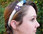 Flower Heaband -- Crochet blue purple and white flowers