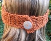 Flower Headband -- Crochet Earwarmer -- Orange and Cream
