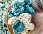 Crochet Flower Headband -- Seaglass