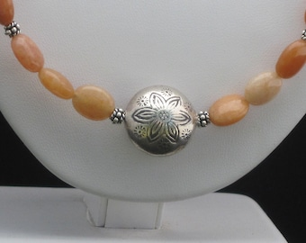 Peach Sherbet Jade with Hill Tribe Sterling Silver