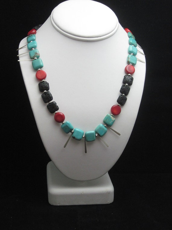 SALE Turquoise and Lava Squares with Sterling Paddles and Coral Rounds