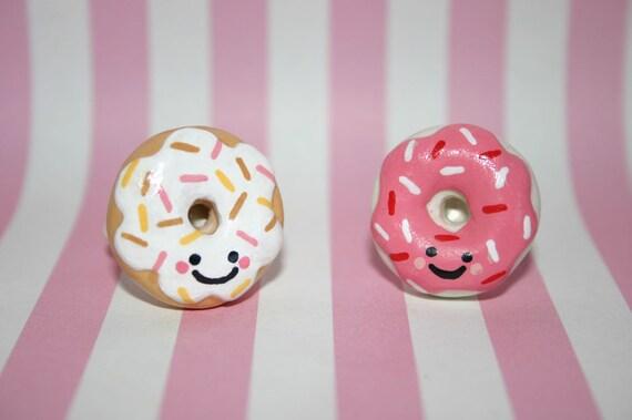 Kawaii face glazed donut rings - by Cutest Little Trinkets
