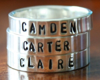 Personalized Stackable Name Rings- Sterling Silver- Hand Stamped- Three Custom Stacking Rings- Childs Name Rings- Christmas Gift
