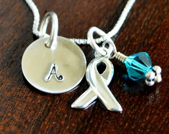 Awareness Personalized Ribbon Necklace- Sterling Silver- Hand Stamped Initial Charm- Cancer Awareness Gift- Survivor Jewelry