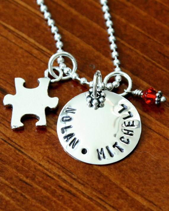 Autism Personalized Necklace- Sterling Silver- Hand Stamped- Awareness Name Necklace -Puzzle Jewelry