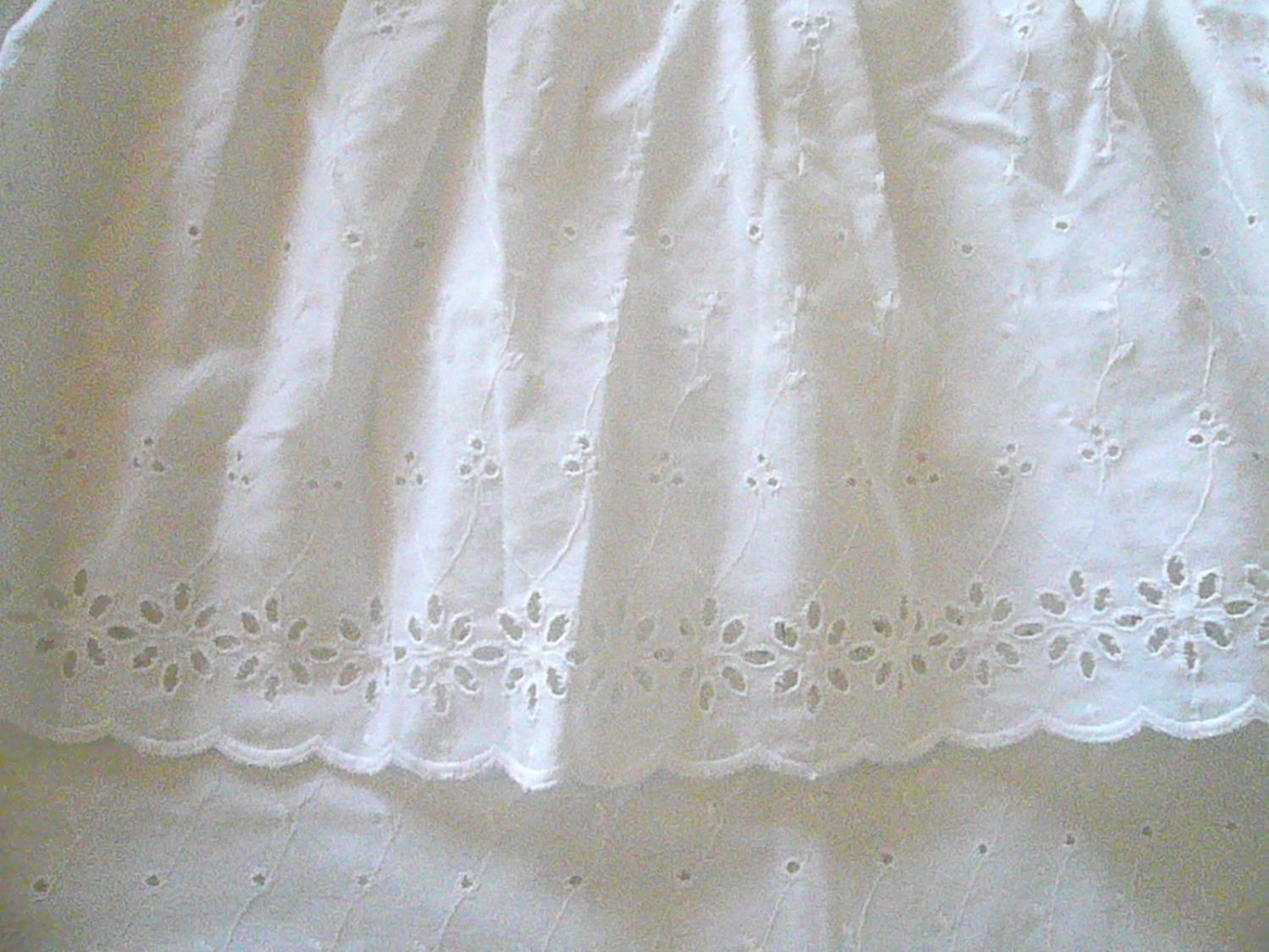 Vintage Eyelet White Ruffled Shower Curtain