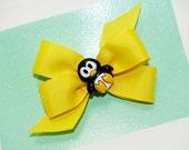Yellow Penguin Pinwheel Hair Bow