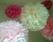 14 Tissue Paper Pom Poms-- ChooseYour Colors-- Anniversary/ Wedding/ Birthday/ Baby Shower Decorations