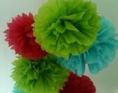 5 Tissue Paper Pom Poms-- Choose Your Colors-- Party/ Graduation/ Anniversary/ Room Decorations
