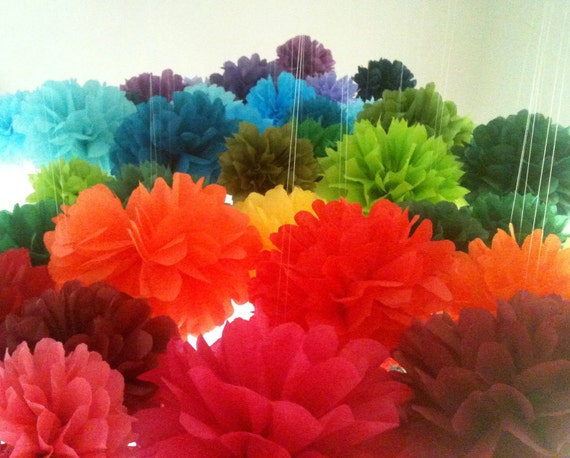 10 Tissue Paper Pom Poms-- Choose your colors