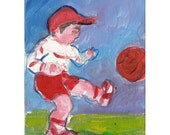 Sam Plays Soccer original painting children 7x5 blue red