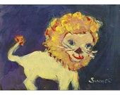 Whimsical lion original painting children art 5x7 yellow purple