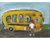 Henry the Yellow School Bus original painting whimsical children 5x7