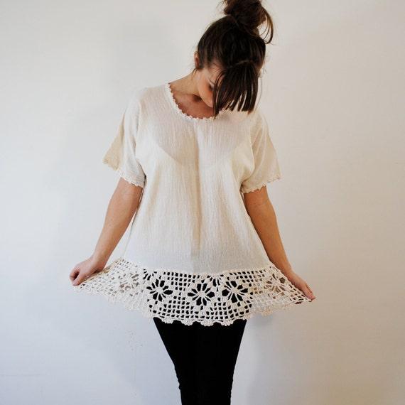 vintage blouse / bohemian top with crochet trim  (m-l)