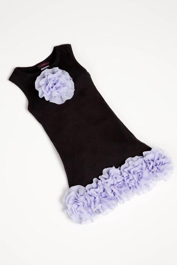 Girls Dress Toddler Sleeveless Summer Dress in Black with Lavender  Chiffon Flowers