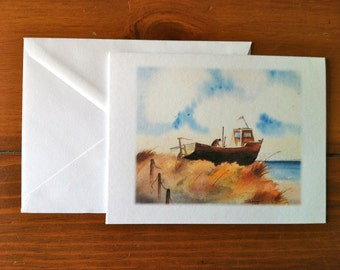 Boat Beached on Dune Greeting Card - Scene 1 (Blank Inside)