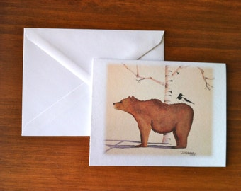 Bear with Magpie - Greeting Card - (Blank Inside)
