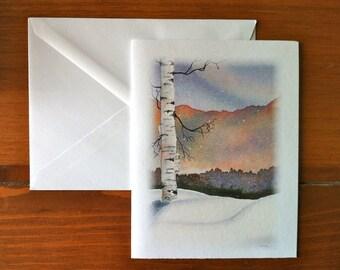 Birch Tree Winter Scene - Greeting Card - (Blank Inside)