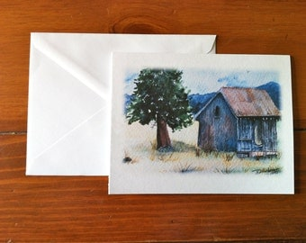 Old Building on West Mountain Rd, McCall, Idaho - Greeting Card - (Blank Inside)