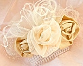 Ivory and Buttercream Roses Hair Comb
