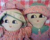 Vintage Brother and Sister Cloth Dolls Handmade 1940s
