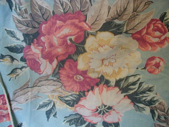 Vintage Shabby Cottage Chair Cushion Cover Romantic Cabbage Rose  Floral