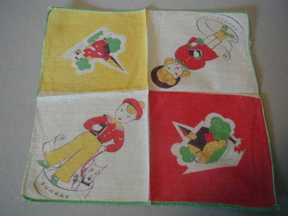 Adorable Vintage Child's Handkerchief with Sunday and a Church