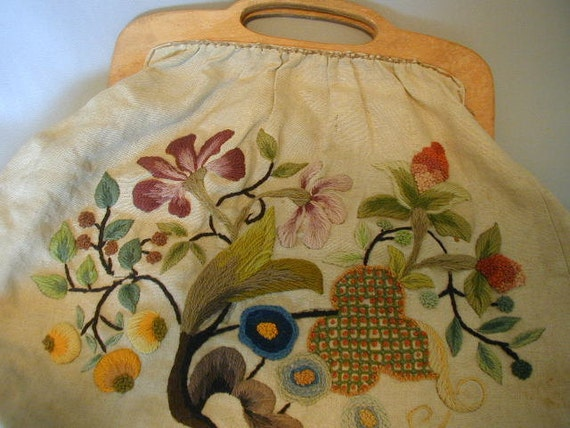 Vintage Crewel Embroidered Knitting -Sewing Purse Bag