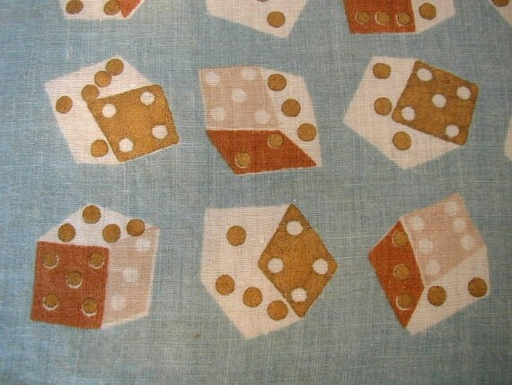 Vintage Scarf or Handkerchief with Tumbling Dice Lucky Numbers 7 and 21 for Las Vegas
