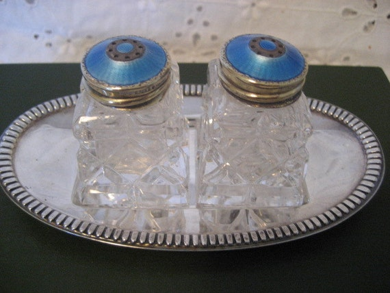 Beautiful Vintage Salt Pepper Shakers Guilloche And Sterling
