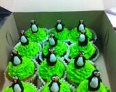 5 Edible Penguins Fondant cake cupcake topper TOO CUTE